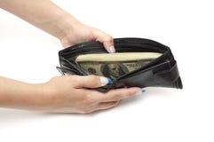 Dólares na bolsa aberta Fotos de Stock Royalty Free