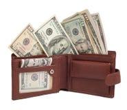 Dólares na carteira imagem de stock