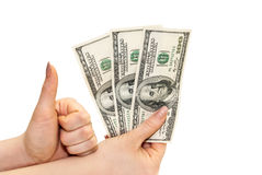 Dólares na mão Foto de Stock