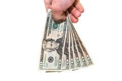 Dólares na mão Fotos de Stock