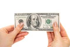 Dólares na mão Imagens de Stock Royalty Free