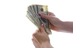 Dólares nas mãos Fotografia de Stock Royalty Free