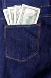 Dólares no bolso Foto de Stock