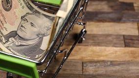 Dólares no carro do trole da compra video estoque
