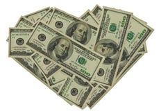 Dólares no coração da forma Foto de Stock Royalty Free