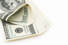 100 dólares no fundo branco Fotos de Stock Royalty Free