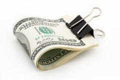100 dólares no fundo branco Imagens de Stock Royalty Free