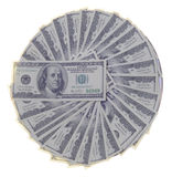 Dólares no fundo branco Fotos de Stock Royalty Free