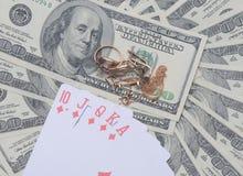 Dólares no fundo branco Fotos de Stock