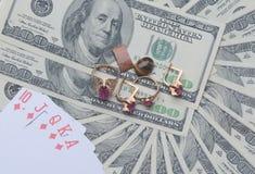 Dólares no fundo branco Foto de Stock Royalty Free