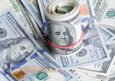 Dólares no fundo branco Imagens de Stock Royalty Free