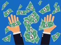 Dólares ou dinheiro de travamento que caem do céu Foto de Stock