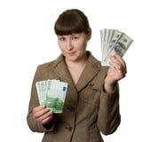 Dólares ou euro Fotografia de Stock Royalty Free