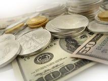Dólares, ouro e dinheiro de prata dos E.U. Fotografia de Stock Royalty Free