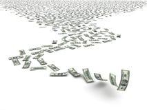 Dólares que caen Fotografía de archivo libre de regalías