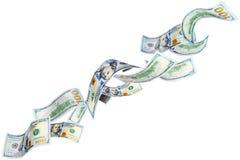 Dólares que caen Fotografía de archivo