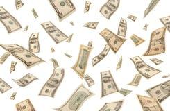 Dólares que caen (aislados) Imagen de archivo libre de regalías