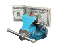Dólares que estão sendo espremidos em um torno Imagens de Stock Royalty Free