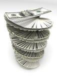 Dólares remolinados Imagen de archivo libre de regalías