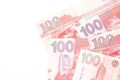 100 dólares são a moeda nacional de Hong Kong Fotografia de Stock Royalty Free