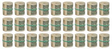 Dólares torcidos em um fundo branco Fotografia de Stock