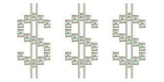 Dólares torcidos em um fundo branco Fotos de Stock Royalty Free