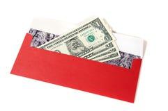 Dólares verdaderos de santa con la tarjeta de Navidad Imagenes de archivo