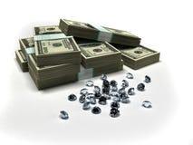 Dólares y diamantes ilustración del vector