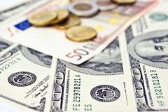 Dólares y euro Foto de archivo