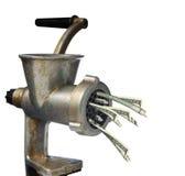 Dólares y máquina para picar carne Imagen de archivo