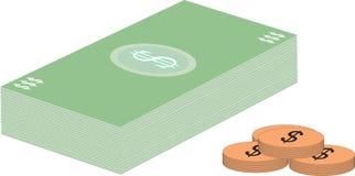 Dólares y monedas ilustración del vector
