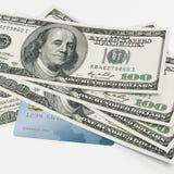 Dólares y tarjeta de crédito Fotografía de archivo libre de regalías