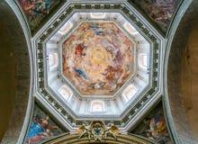 Dôme avec le ` de fresque notre Madame dans le ` de gloire par Raffaele Vanni, dans la basilique de Santa Maria del Popolo à Rome image stock