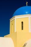Dôme bleu d'église, Grèce Image libre de droits