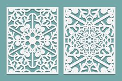 Dö och laser klippta dekorativa paneler med snöflingamodellen Laser som klipper dekorativa spets- gränsmodeller Uppsättning av at vektor illustrationer