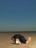 Död affärsman med den blanka etiketten på toen Fotografering för Bildbyråer