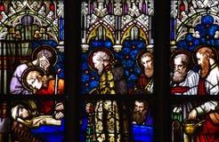 Död av Mary modern av Jesus i målat glass Royaltyfria Bilder