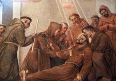 Död av St Francis av Assisi royaltyfri fotografi