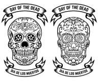 död dag de diameter los muertos Uppsättning av sockerskallarna Planlägg beståndsdelar för affischen, hälsningkortet, baner Vektor stock illustrationer