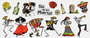död dag Mexicansk nationell ferie Original- inskrift i Spanjor Diameter de los Muertos Skelett i dräkter vektor illustrationer