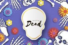död dag Papperssnittskalle för mexikansk beröm Traditionellt Mexiko skelett de diameter muertos Mexicansk ferie vektor illustrationer