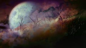 Död Forest Full Moon Happy Halloween 4K ögla royaltyfri illustrationer