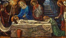 Död Jesus i hans grav med Mary, Mary Magdalene och andra royaltyfria bilder