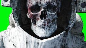 Död levande dödastronaut i utrymme cadaver grön skärm framförande 3d Arkivfoto