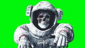 Död levande dödastronaut i utrymme cadaver grön skärm framförande 3d Fotografering för Bildbyråer