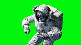 Död levande dödastronaut i utrymme cadaver grön skärm framförande 3d Royaltyfri Fotografi
