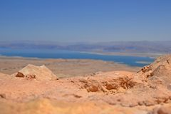 död sikt för jordan berghav Sikt från fästningen Masada i Israel arkivfoton