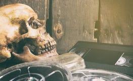 Död skalle över filmfilmen och videobandet arkivfoton