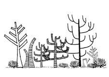 Död skogteckningsvektor Vektor Illustrationer