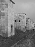 Döda ljusa torn för västra sida av den tidigare Nazi Party samlar jordning Arkivfoto